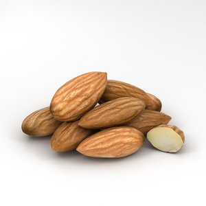 3D almond nut food