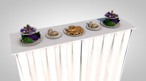 3D buffet cheese grapes model