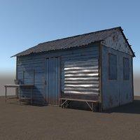 3D wooden shed model