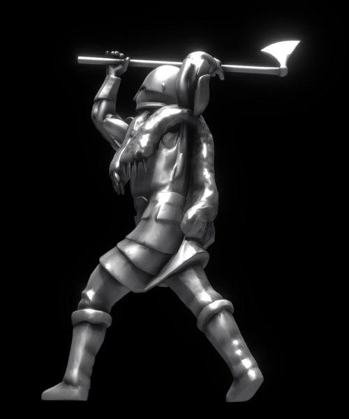 3D viking twohanded axe model