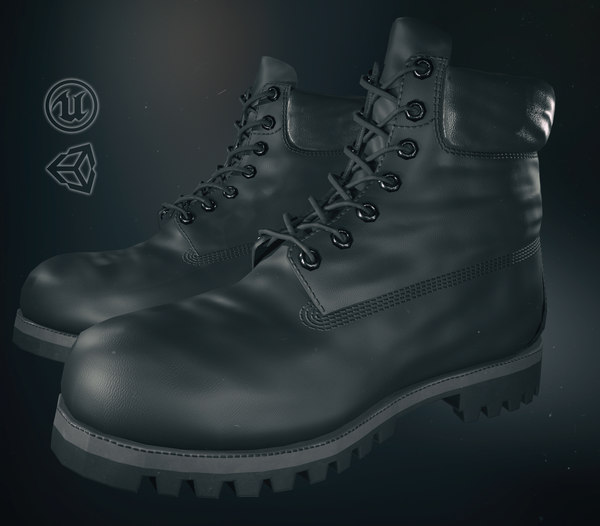 3D black timberland boots model