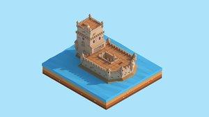 cartoon tower 3D model