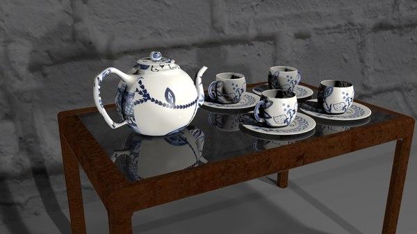 kitchenware set cup saucer 3D model