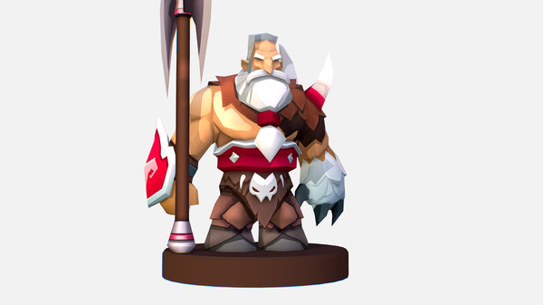 3D handpaint cartoon man viking