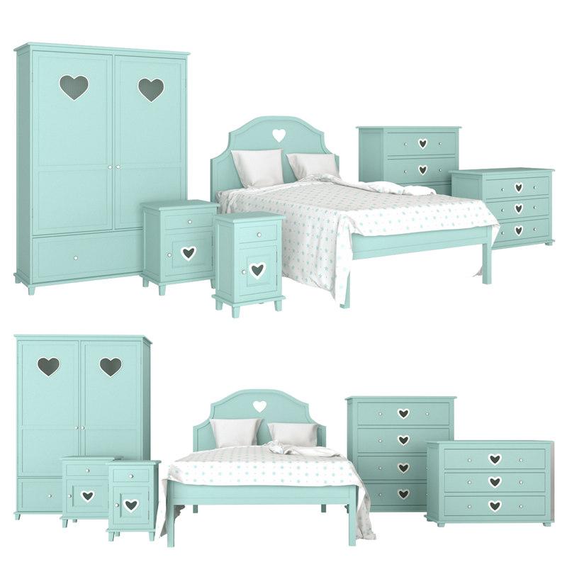3D children room bed model
