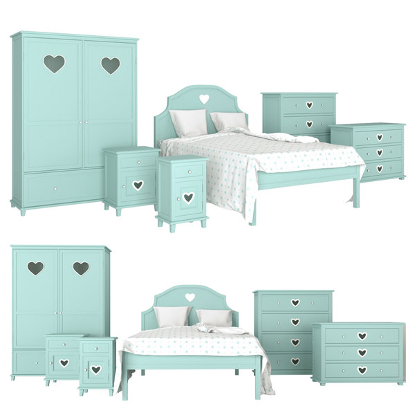 3D children room bed model