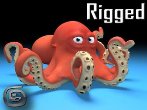 3D rigged octopus