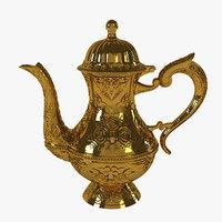gold handed-pot carved floral 3D