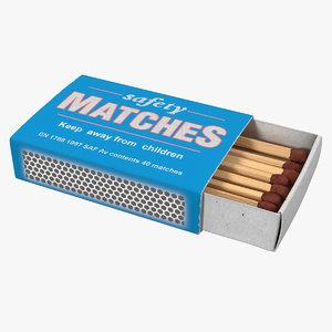 matchsticks cardboard matchbox stick 3D model