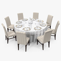 3D dining served table chairs model