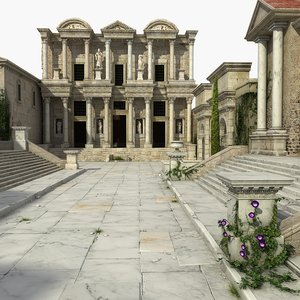 ephesus celsus building architecture 3D model