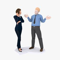 3D style couple business man model