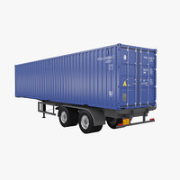3D 40ft trailer container model