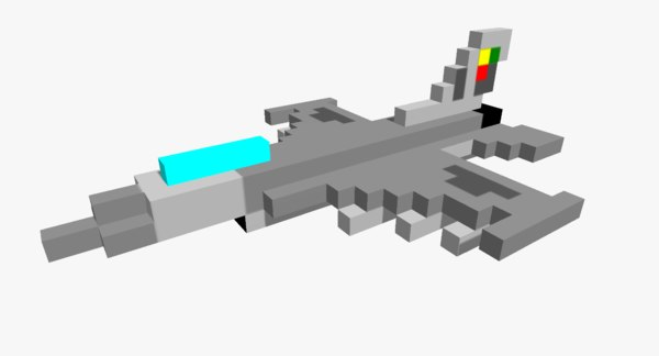 3D pixelated f16 jet fighter