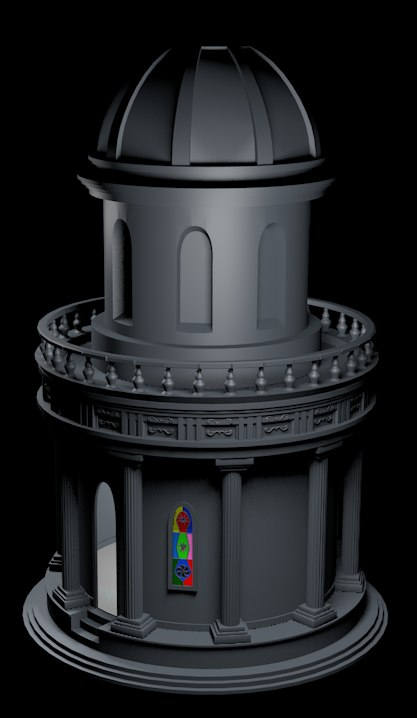 3D model temple tower
