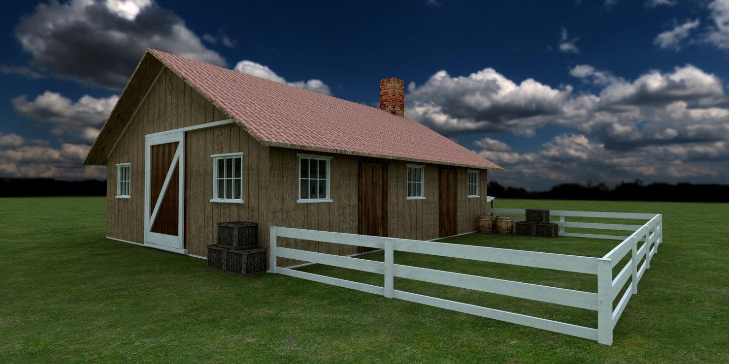3D model old barn farm building house