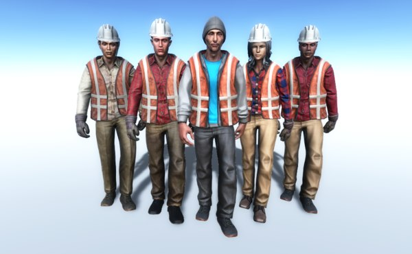 3D working people model
