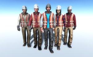 3D working people model