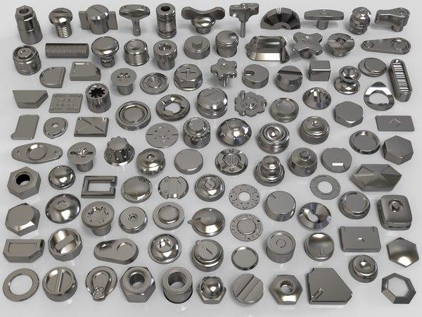 3D bolts knobs 106 pieces