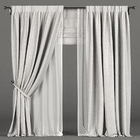 3D tulle white curtain model