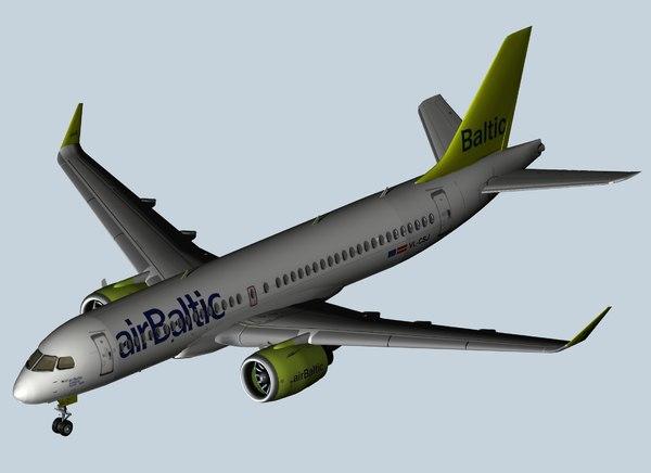 airbus a220 air baltic 3D