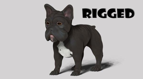 3D model dog bull bulldog