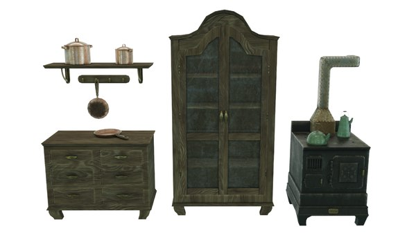 vintage victorian kitchen stove 3D