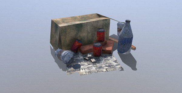 3D garbage low-poly pbr