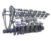 rigged v12 engine cylinders 3D model