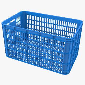 3D blue plastic crate model