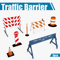 Traffic barriers low poly