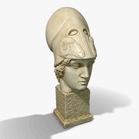 PBR Low Poly Athena Bust