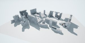 3D destroyed buildings low-poly pbr
