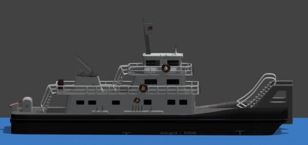 push boat ferry 3D model