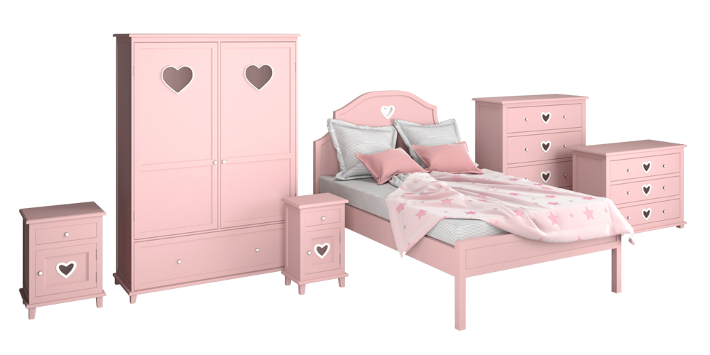 3D children room bed cupboard
