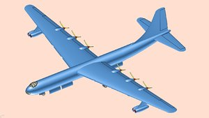 b-36 bomber aircraft solid 3D model