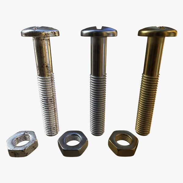 screws nuts brass 3D model