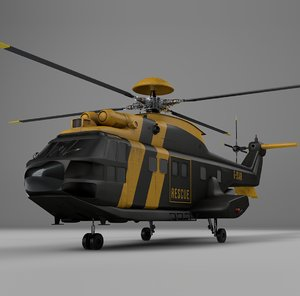 eurocopter as332 uk emergency 3D model