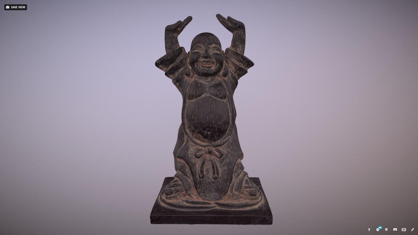 3D wooden happy buddha statue model