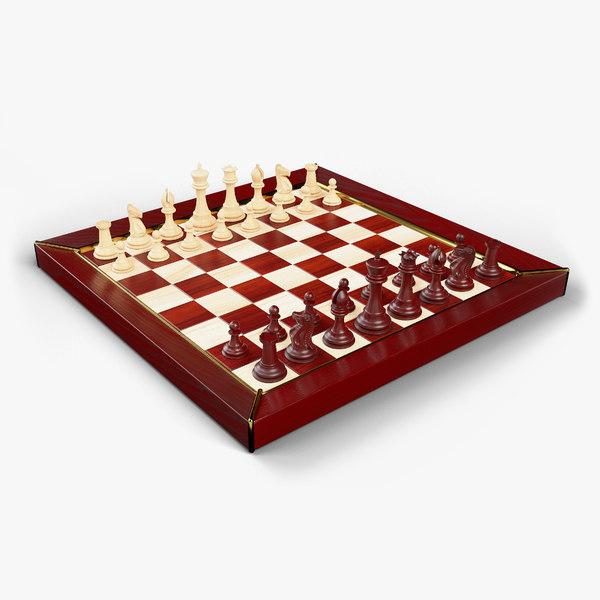 3D staunton chess set model