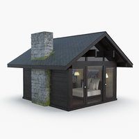 3D forest cabin interior model