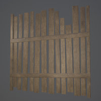 3D old wooden fence pbr
