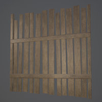 old wooden fence pbr 3D model