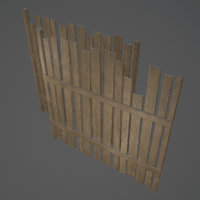 old wooden fence set model