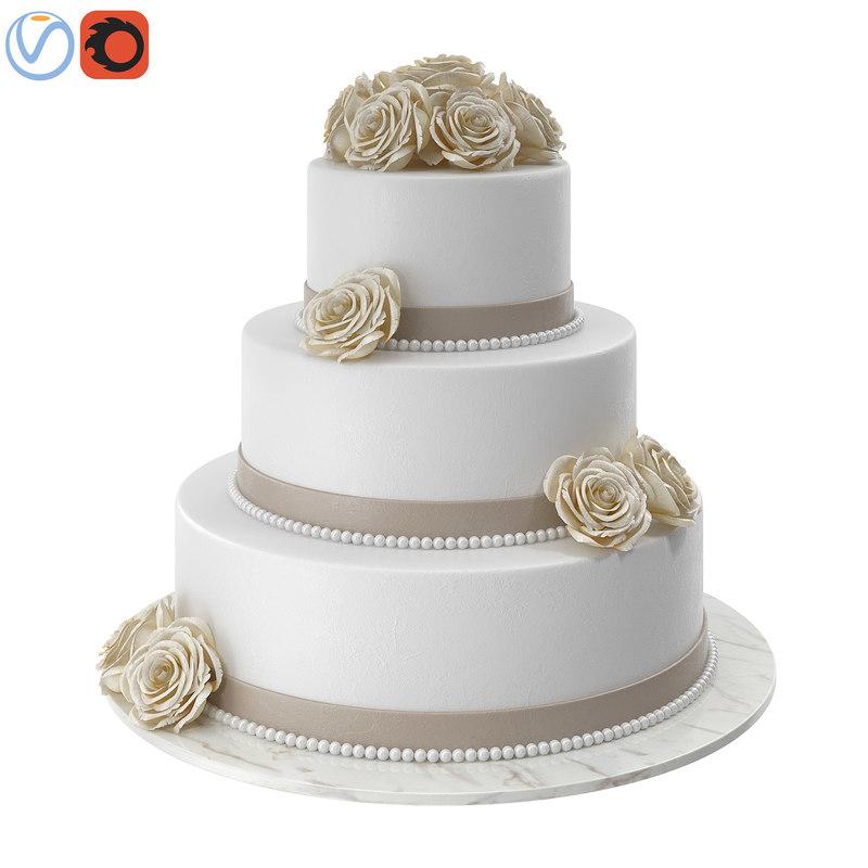 3D white wedding cake model