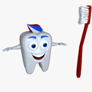 cartoon tooth 3D model