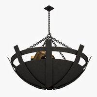 old medieval chandelier 3D model