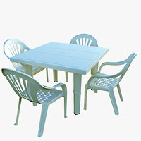 plastic table chair 3D model