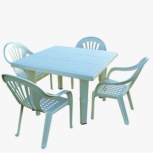 plastic table chair 3D model