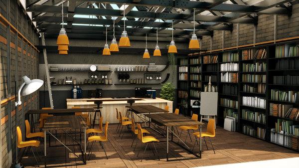 cool cafe shop 3D